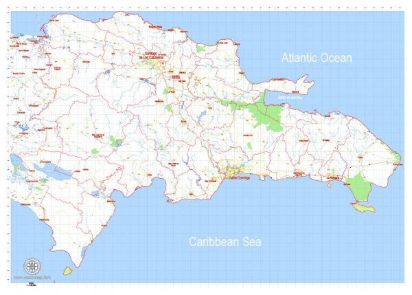 Printable Dominican Republic Detailed Map, exact G-View Level 12 (5 km scale) vector map Adobe Illustrator editable A3 Blanco Simple version, scalable, Text format names, 6 Mb ZIP