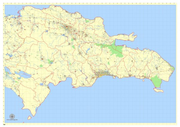 Printable Dominican Republic Detailed Map, exact G-View Level 12 (5 km scale) vector map Adobe PDF editable A3, scalable, Text format names, 15 Mb ZIP.