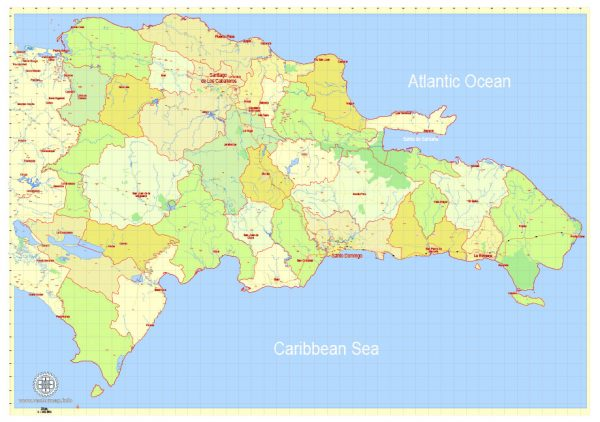 Printable Dominican Republic Detailed Map, exact G-View Level 12 (5 km scale) vector map Adobe Illustrator editable A3 Simple version, scalable, Text format names, 6 Mb ZIP.