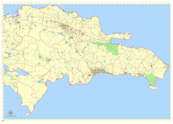 Printable Dominican Republic Detailed Map, exact G-View Level 12 (5 km scale) vector map Adobe Illustrator editable, scalable, Text format names, 9 Mb ZIP
