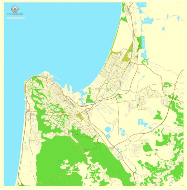 Printable map Haifa, Israel, exact vector map Adobe Illustrator editable City Plan, full vector, scalable, editable, english text format street names, 3 mb ZIP