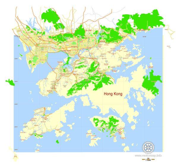 Hong Kong Map PDF China printable vector City Plan 5 km scale full editable in ENGLISH, Adobe PDF Street Map