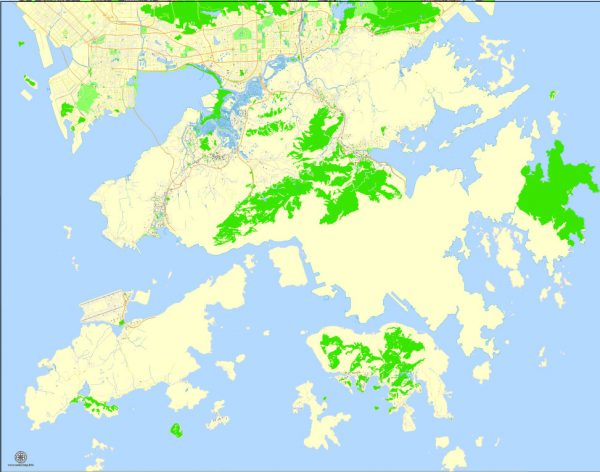 Printable Map Hong Kong, China, exact vector street G-view Level 17 (100 meters scale) map, full editable in ENGLISH, Adobe illustrator, full vector, scalable, editable, text format street names, 6 mb ZIP