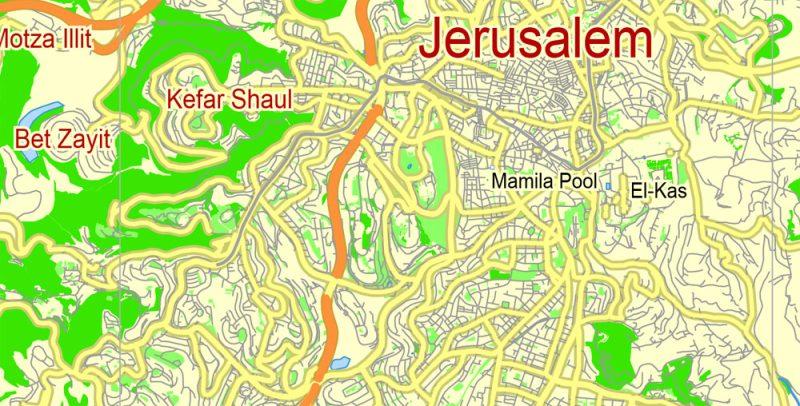 Jerusalem Map Vector Israel printable City Plan 5 km scale full editable Street Map in ENGLISH Adobe illustrator