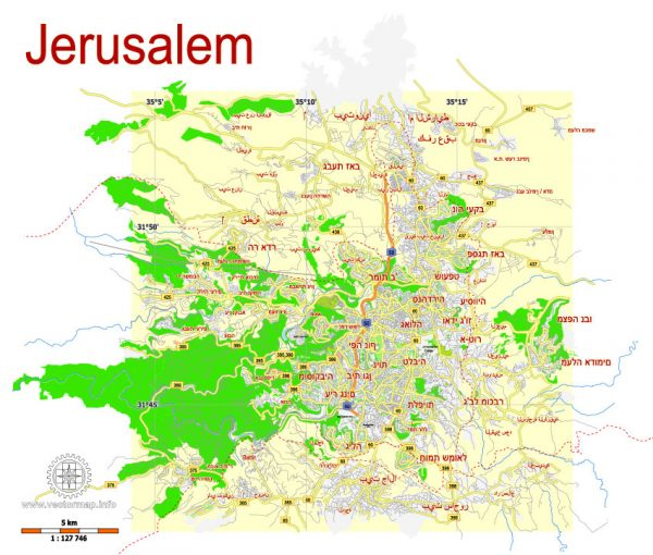 Printable Map Jerusalem, Israel, HEBREW vector map Adobe Illustrator editable G-View Level 12 (5 km scale), full vector, scalable, editable, hebrew curves format names, 2 mb ZIP