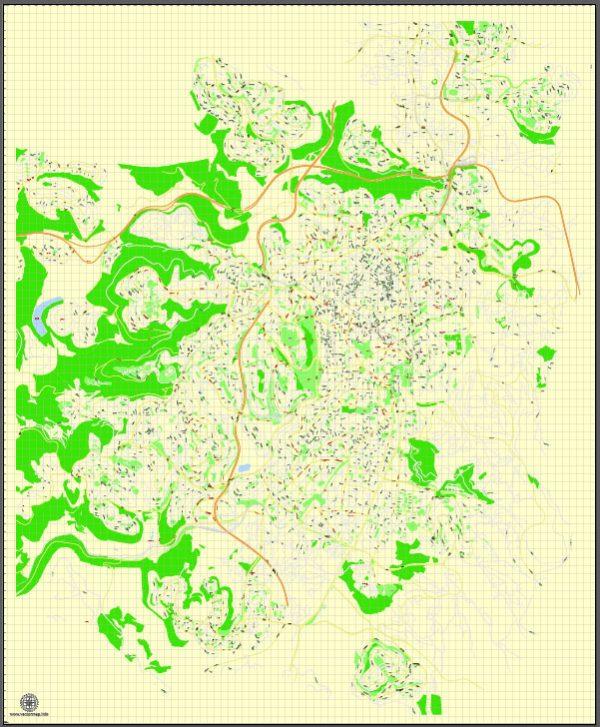 Printable Map Jerusalem, Israel, English vector map Adobe Illustrator editable G-View Level 17 (100 meters scale), full vector, scalable, editable, english text format street names, 4 mb ZIP