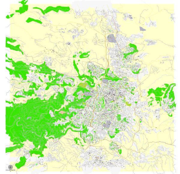 Printable Map Jerusalem, Israel, exact HEBREW vector map Adobe Illustrator editable G-View Level 17 (100 meters scale), full vector, scalable, editable, hebrew curves format street names, 14 mb ZIP