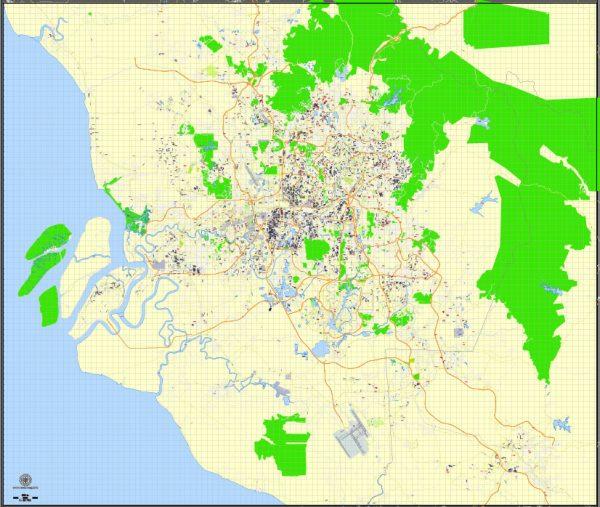 Printable Map Kuala Lumpur, Malaysia, exact vector street G-view Level 15 (500 meters) map, full editable, Adobe illustrator, full vector, scalable, editable, text format street names, 16 mb ZIP