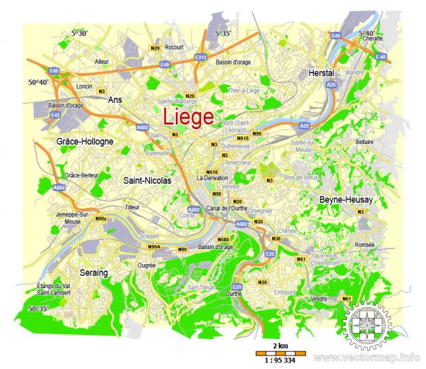 Printable Map Liege, Belgium, exact vector map Adobe Illustrator editable, G-View level 12 (2000 meters), full vector, scalable, editable, text format label names, 1 mb ZIP