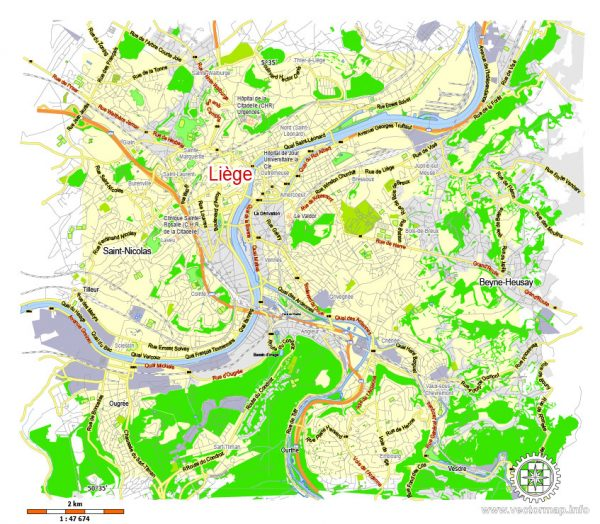 Printable Map Liege, Belgium, exact vector map Adobe Illustrator editable, G-View level 13 (2000 meters), full vector, scalable, editable, text format street names, 2 mb ZIP