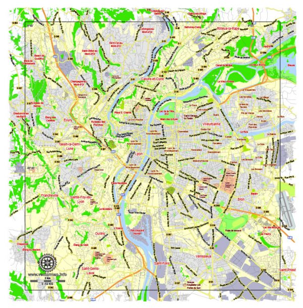 Lyon, France, printable vector street G-view Level 13  (2.000 meters) map, full editable, Adobe illustrator