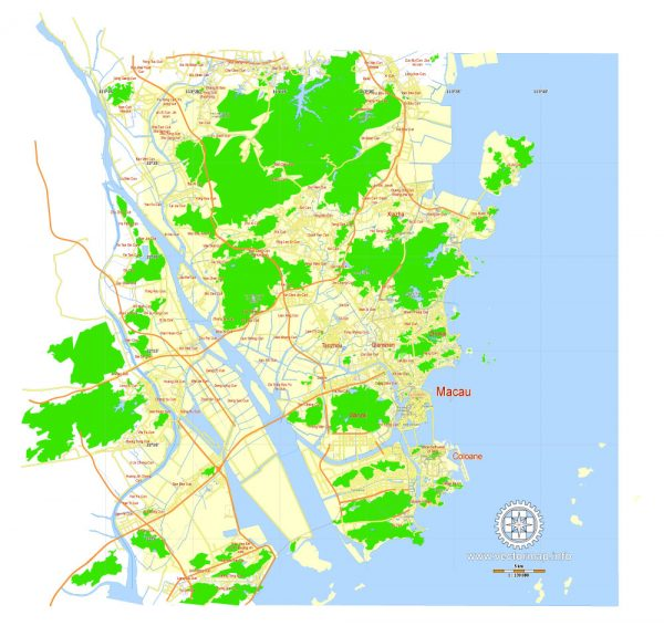 Macau Map PDF China, printable vector City Plan 5 km scale full editable in ENGLISH Adobe PDF Street Map