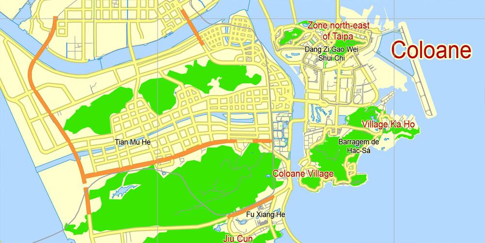 Editable map Macau China 17 AI ENG