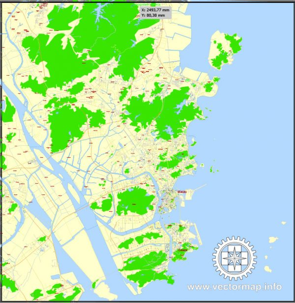 Printable Map Macau, China, exact vector street G-view Level 17 (100 meters scale) map, full editable in ENGLISH, Adobe illustrator, full vector, scalable, editable, text format street names, 4 mb ZIP