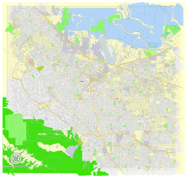 Printable Map Mountain View, California, US, exact vector street G-View Level 17 map (100 meters scale), full editable, Adobe Illustrator, full vector, scalable, editable, text format street names, 10 Mb ZIP.