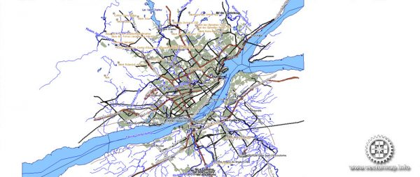 Quebec City Map, Canada, DWG, DXF, Shape files in 1 archive, V.4.10 full editable, 39 mb ZIP