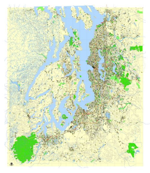 Printable Map Seattle Large Area with neighborhood, Washington, US, exact vector street G-View level 13 (2000 meter scale) map V2.10, full editable, Adobe Illustrator, full vector, scalable, editable text format street names, 18 mb ZIP