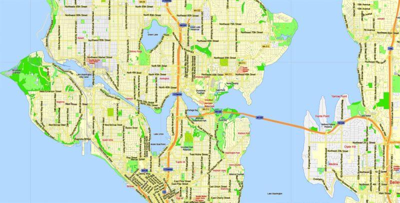 Printable Map Seattle Area with suburbans, Washington, US, exact vector streetG-View level 13 (200 meter scale) map V1.10, full editable, Adobe Illustrator, full vector, scalable, editable text format street names, 17 mb ZIP