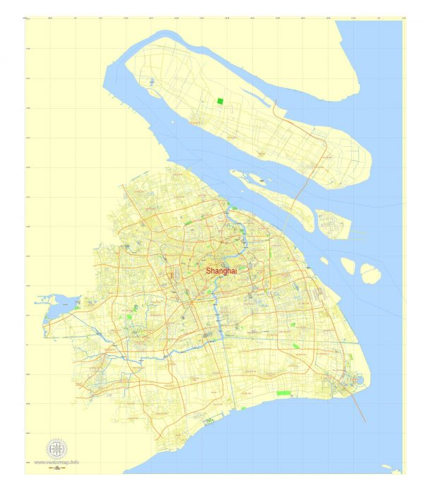 Shanghai PDF Map China printable vector City Plan 5 km scale full editabale in ENGLISH, Adobe PDF Street Map