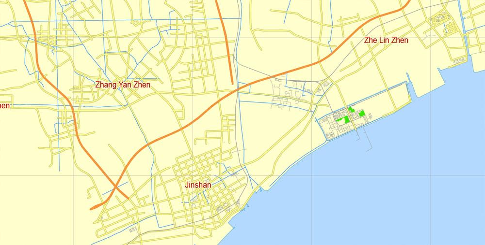 Street map Shanghai China ENG AI