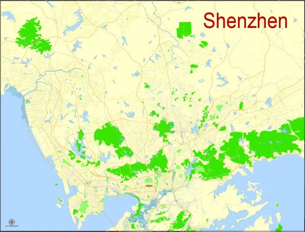 Printable Map Shenzhen, China, exact vector street G-view Level 17 (100 meters scale) map, full editable in ENGLISH, Adobe illustrator, full vector, scalable, editable, text format street names, 7 mb ZIP