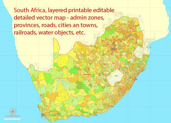 Printable Map South Africa, exact vector map Adobe Illustrator editable, full vector, scalable, editable, text format names, 78 mb ZIP