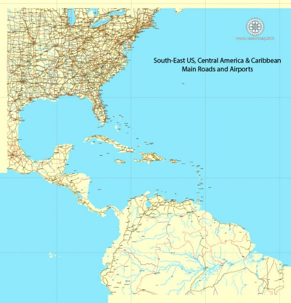 Region Map South-East USA, Central America & Caribbean printable vector map, main roads and airports. Adobe Illustrator. Separeted layer: roads, rivers, airports correct shorelines.