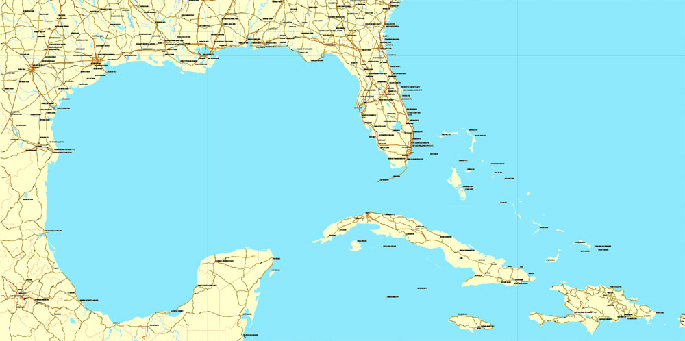Street map South East US Central America Caribbean AI