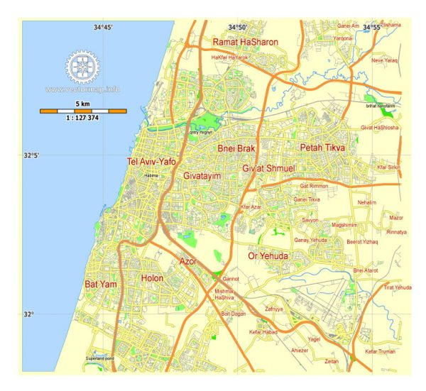 Tel Aviv Yafo Vector Map Israel printable City Plan 5 km scale editable in ENGLISH Adobe illustrator Street Map