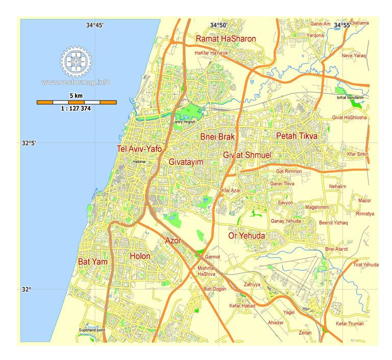 Street map Tel Aviv Israel