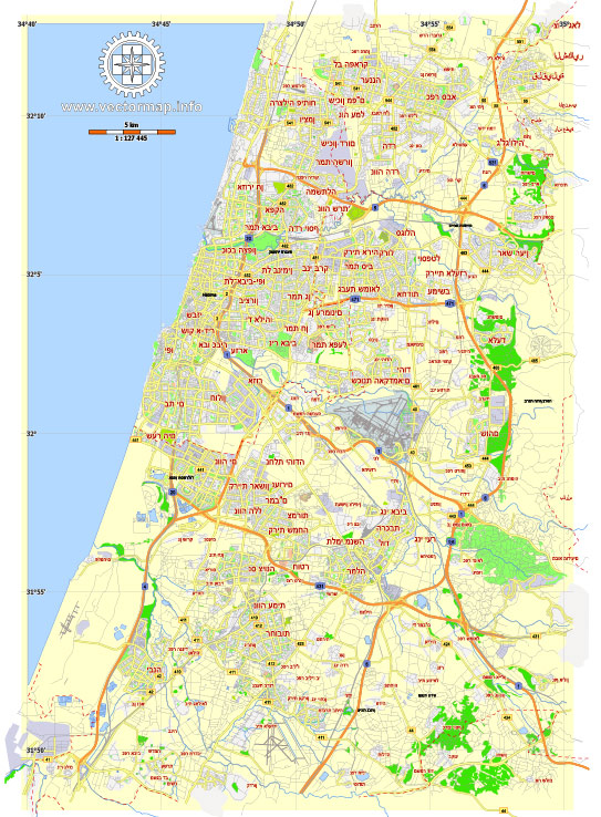 Printable Map Tel Aviv Yafo, Israel, printable HEBREW vector map Adobe Illustrator editable G-View Level 12 (5 km scale), full vector, scalable, editable, hebrew curves format names, 4 mb ZIP