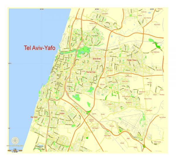 Printable Map Tel Aviv Yafo, Israel, exact vector street G-view Level 13 (1 km scale) map, full editable in ENGLISH, Adobe illustrator, full vector, scalable, editable, text format names, 2 mb ZIP