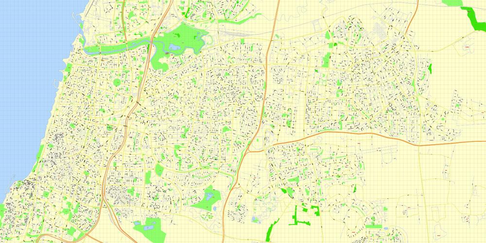 Street map Tel Aviv Israel ai