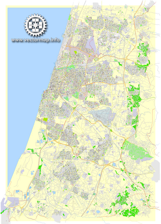 Printable Map Tel Aviv Yafo, Israel, exact HEBREW vector map Adobe Illustrator editable G-View Level 17 (100 meters scale), full vector, scalable, editable, hebrew curves format street names, 38 mb ZIP