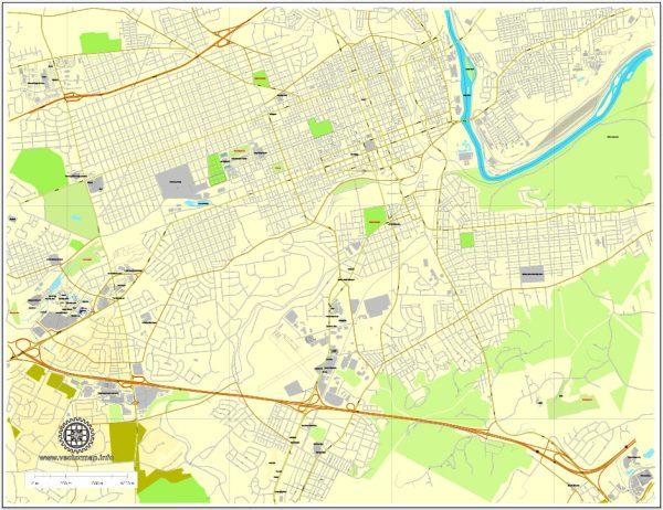 Allentown Vector Map Pennsylvania US exact vector street City Plan full editable Street Map Adobe Illustrator