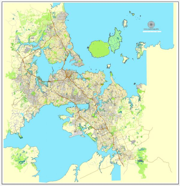 Printable Map of Auckland, New Zealand, exact vector street City Plan map, fully editable, Adobe Illustrator, full vector, scalable, editable, text format street names, 21 Mb ZIP