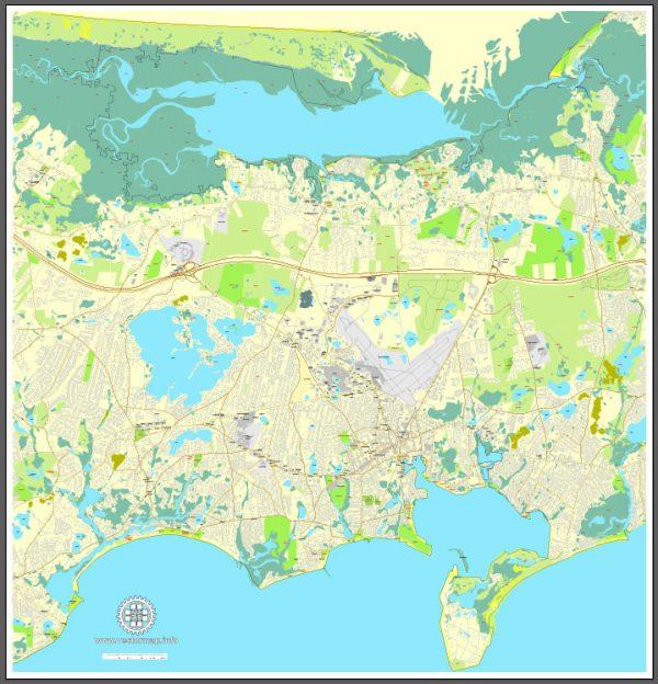 Printable map of Barnstable, Massachusetts, US, vector map V3.10 Adobe Illustrator editable City Plan, full vector, scalable, editable, text format street names, 6 Mb ZIP.