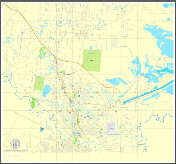 Printable map of Brownsville, Texas, US, vector street City Plan map, full editable, Adobe Illustrator V2.10, full vector, scalable, editable, text format street names, 3 Mb ZIP.