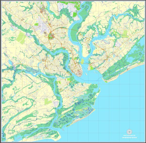Printable Charleston, South Carolina, US printable vector street City Plan map, full editable, Adobe Illustrator, V3.10 Center, full vector, scalable, editable, text format street names, 9 Mb ZIP.