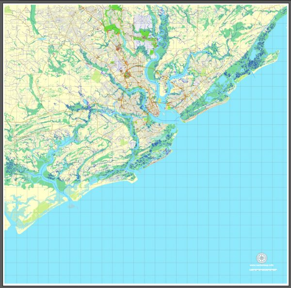 Printable Map Charleston, South Carolina, US, exact vector street City Plan map, full editable, Adobe Illustrator, V3.10 Full, full vector, scalable, editable, text format street names, 15 Mb ZIP