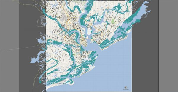 Printable Map Charleston, South Carolina, US, exact vector street City Plan map, full editable, Adobe Illustrator, V5 G-View, full vector, scalable, editable, text format street names, 19 Mb ZIP
