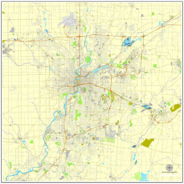 Dayton, Ohio, PDF map, US vector street City Plan map