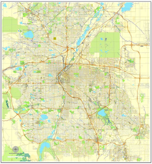 Denver, Colorado, Printable map, USCity Plan editable, Adobe Illustrator