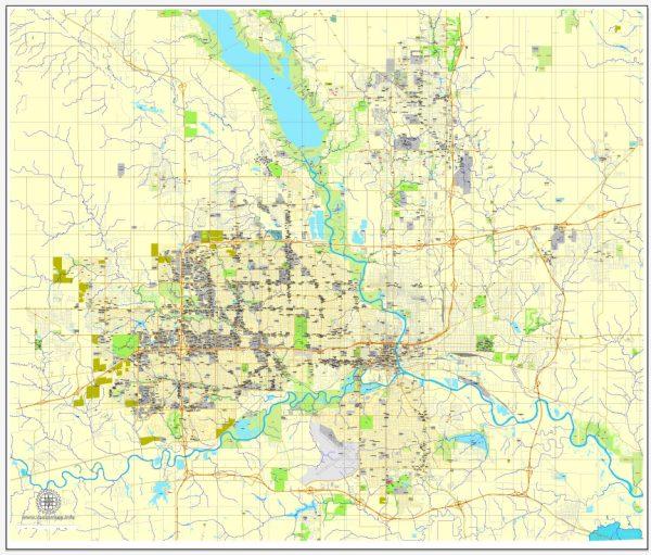 Des Moines, Iowa, PDF map, US printable vector street City Plan Editable