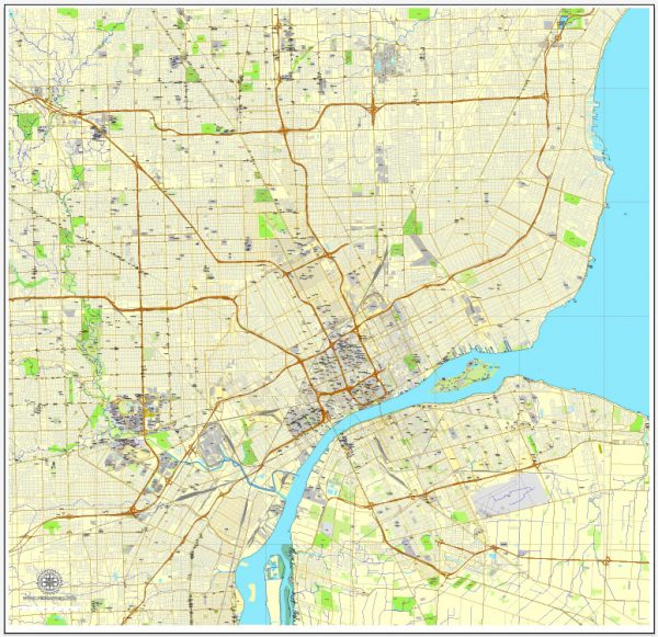 PDF Map Detroit, Michigan, US printable vector street City Plan Editable