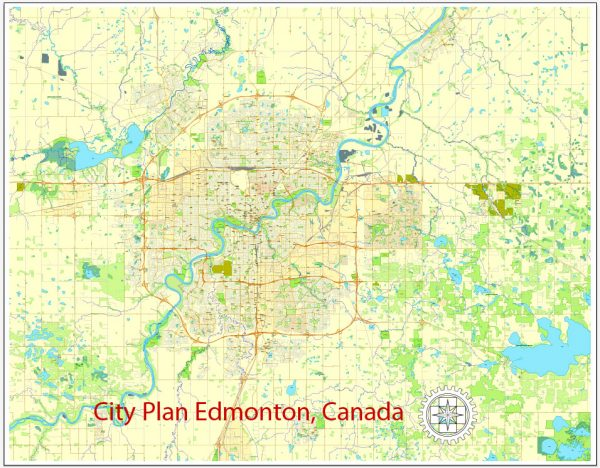 Edmonton PDF Map, City Plan, Canada, vector, scalable, editable