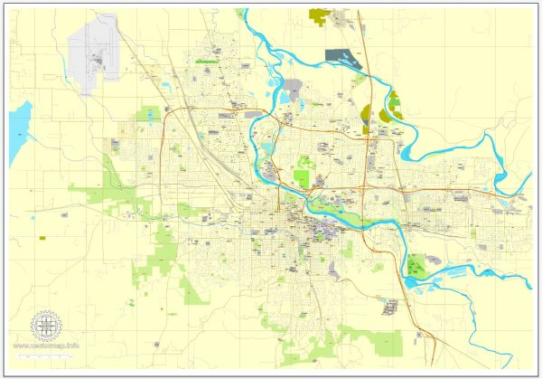 Eugene PDF map, Oregon, US printable vector street City Plan