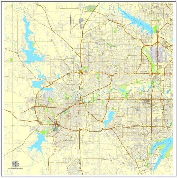 PDF map Fort Worth, Texas, US printable vector street City Plan