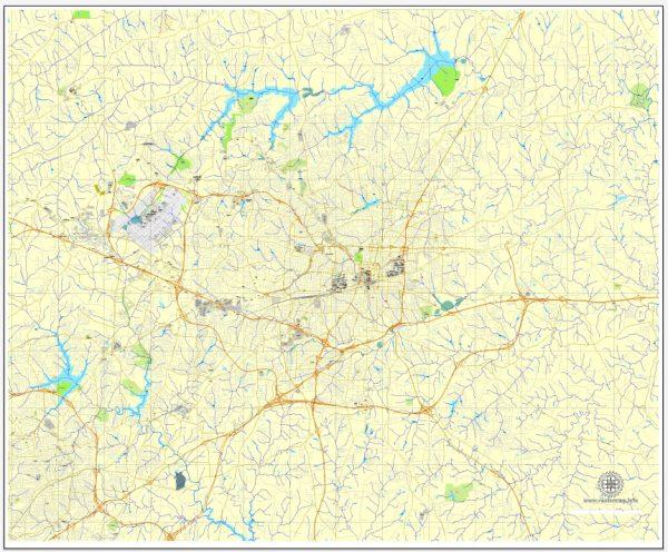 Greensboro PDF map, North Carolina, US, vector street City Plan