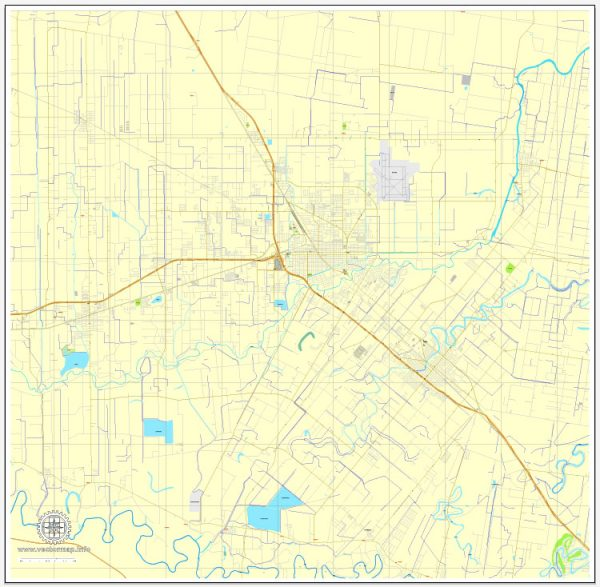 Harlingen PDF map, Texas, US printable vector street City Plan